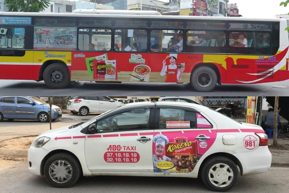 quảng cáo taxi và quảng cáo xe buýt