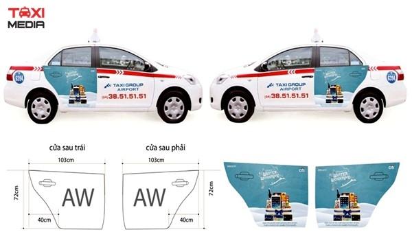maquette quảng cáo trên taxi Group