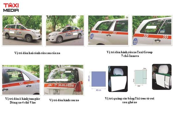 các vị trí quảng cáo trên taxi Group