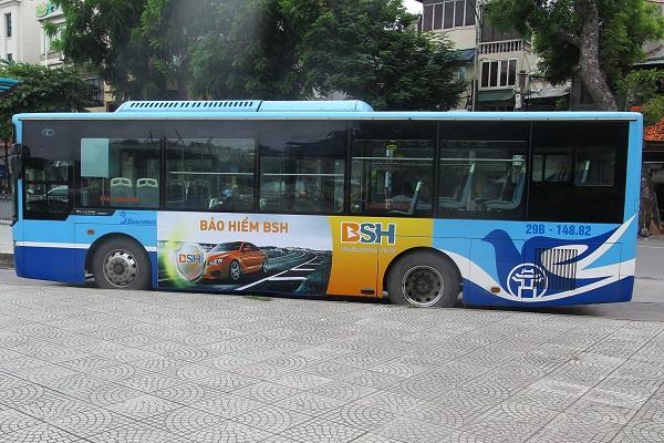 quảng cáo trên xe buýt cho bảo hiểm bsh