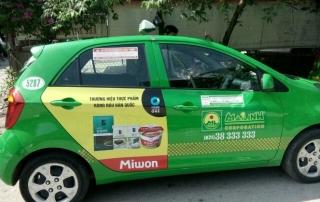 chung jung one quảng cáo trên taxi mai linh
