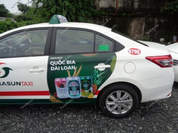 bia đài loan Taiwan beer quảng cáo trên taxi vinasun