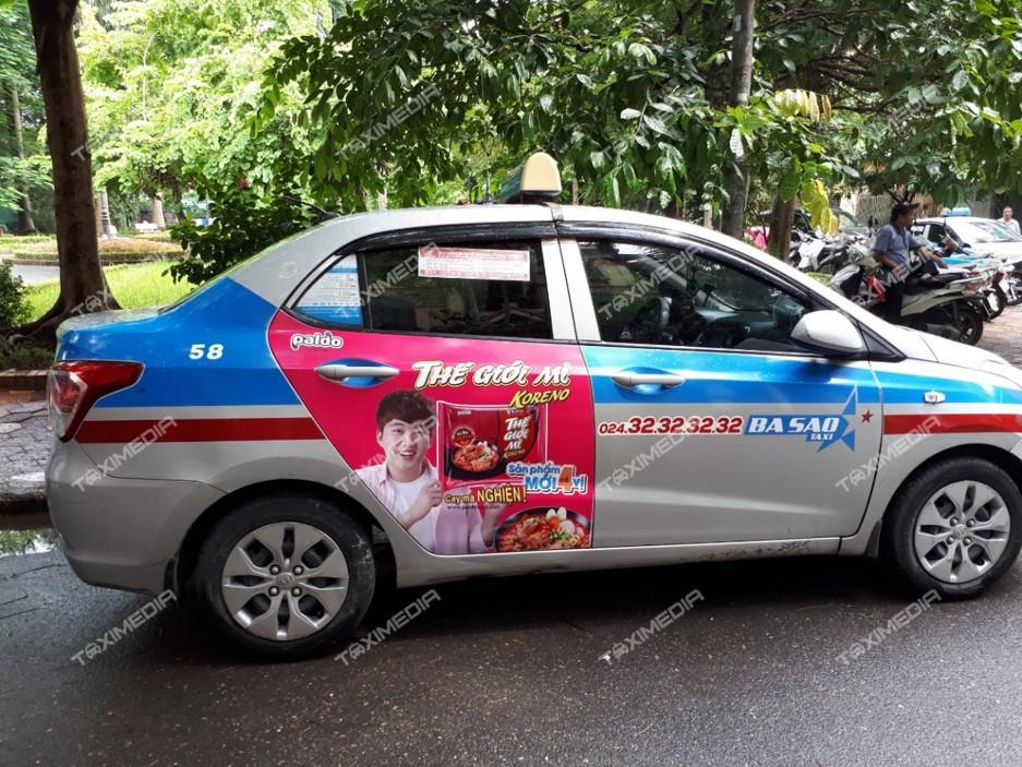 quảng cáo trên taxi ba sao