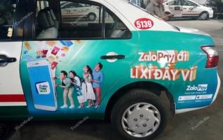 zalopay quảng cáo trên taxi vinasun hồ chí minh