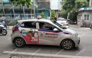 quảng cáo trên xe taxi Sao Hà Nội