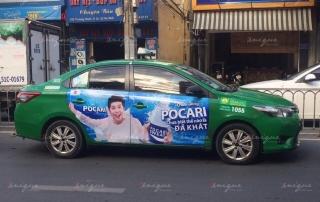 quảng cáo taxi Mai Linh dán full 4 cánh của xe