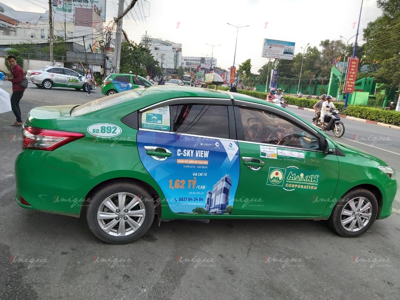 bất động sản c-skyview quảng cáo trên taxi