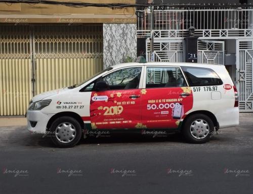 Quảng cáo full 4 cánh cửa xe taxi VinaSun sáng tạo và hiệu quả