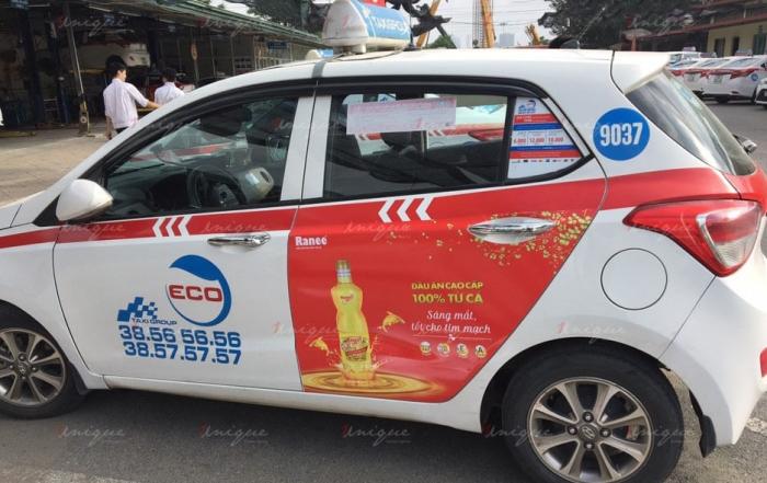 quảng cáo trên taxi cho dầu cá ranee