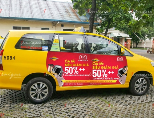 Cập nhật hình thức quảng cáo trên 4 cánh cửa xe Vina taxi