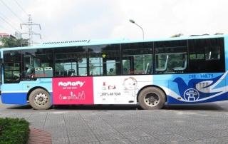 mamamy quảng cáo trên xe buýt