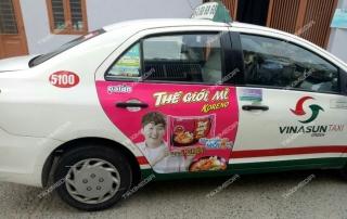 quảng cáo trên taxi tại Hậu Giang