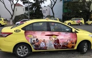 quảng cáo trên 4 cánh cửa xe taxi Tiên Sa