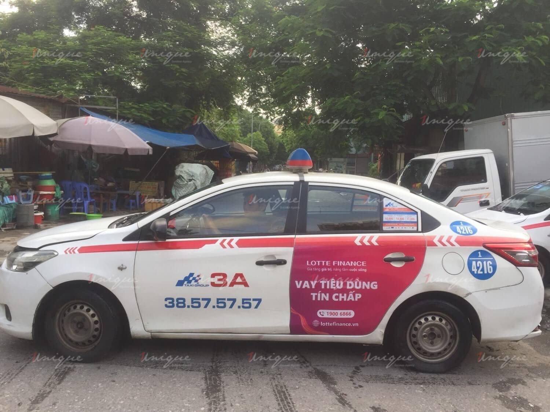 Lotte Finance quảng cáo trên taxi Group