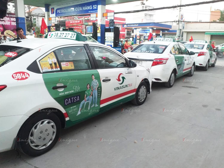 catsa quảng cáo trên taxi