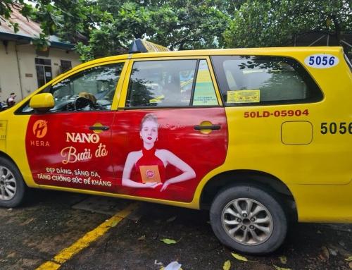 Hera nano bưởi đỏ quảng cáo trên taxi tại TP. Hồ Chí Minh